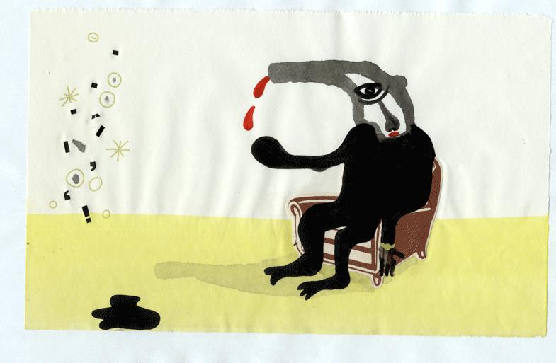 (bersi il cervello), acrilico su carta, 2009